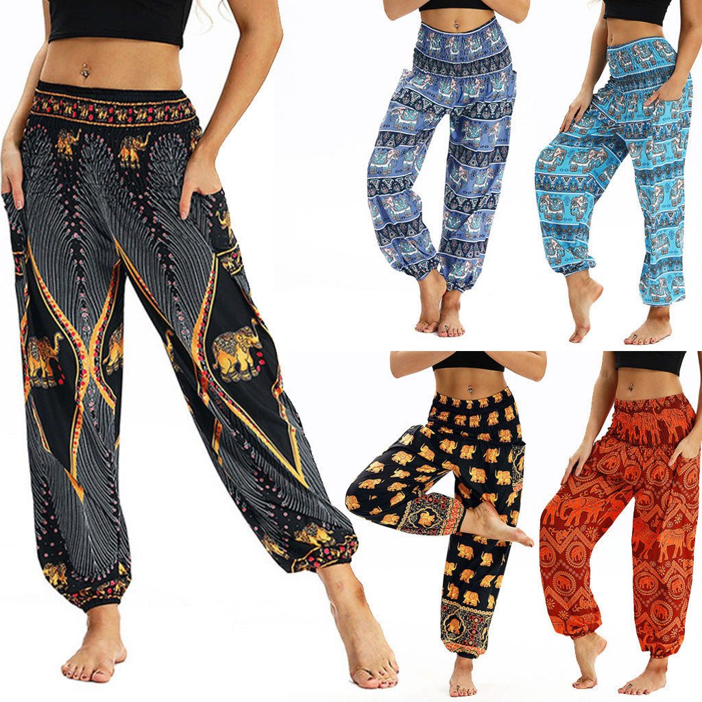 Fashion Bohemian Loose Pant Women Casual Print Travel Lounge Festival Beach High Waist Pant Штаны для йоги Droppship 10 Colors