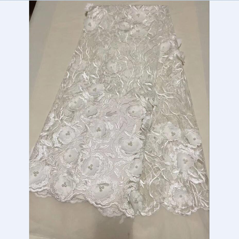 Latest 2018 African French lace white fabric High quality 3D Flower design embroidery Nigerian lace fabric for dress wholesaleLatest 2018 African French lace white fabric High quality 3D Flower design embroidery Nigerian lace fabric for dress wholesale