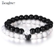 Beagloer 2Pcs / Set Pasangan Jarak Gelang Classic Batu Asli Gelang Putih dan Hitam Manik Untuk Perhiasan Wanita Lelaki