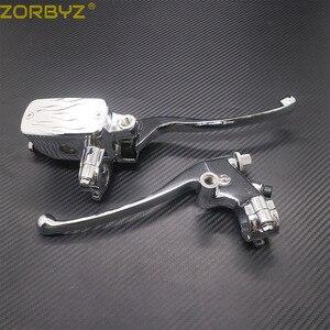 Image 1 - ZORBYZ 7/8 22mm Chrome Lenker Control Reservoir 14mm Bohrung Bremse Kupplung Hebel Für Kawasaki Honda Yamaha Suzuki