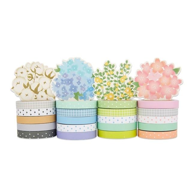 20 pièces Terreau fleur papier washi ensemble 7mm mince décoration bandes Dot & Plaid journal autocollant scrapbooking Papeterie A6446