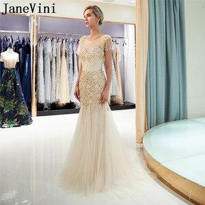 Image 2 - JaneVini Luxe Gold Lange Prom Dresses 2019 Kralen Crystal Mermaid Gala Avondjurk jurk lang Steentjes Parel Partij Jassen