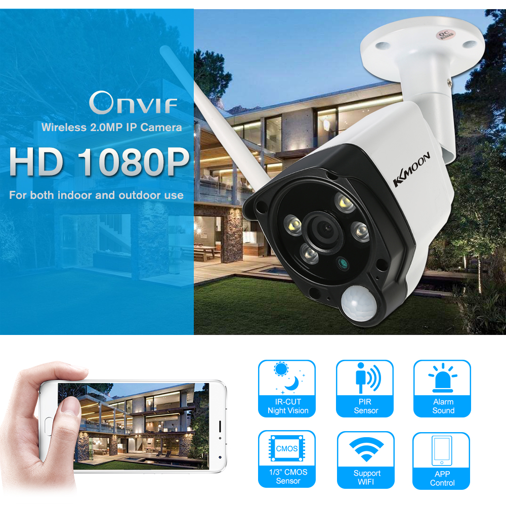 KKmoon 2.0MP IP Camera Wifi 1080P PIR Function Alarm Sound IR ...