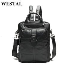 WESTAL Multi-functional Genuine Leather Men Backpacks Travel Bag Backpack Male Women Backpack Schoolbag Business Backpacks 8863