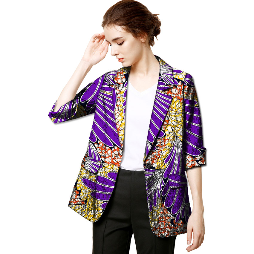 Brightly colored african print Loose and casual blazers women fashion dashiki clothing ladies casual coats of africa outwear
