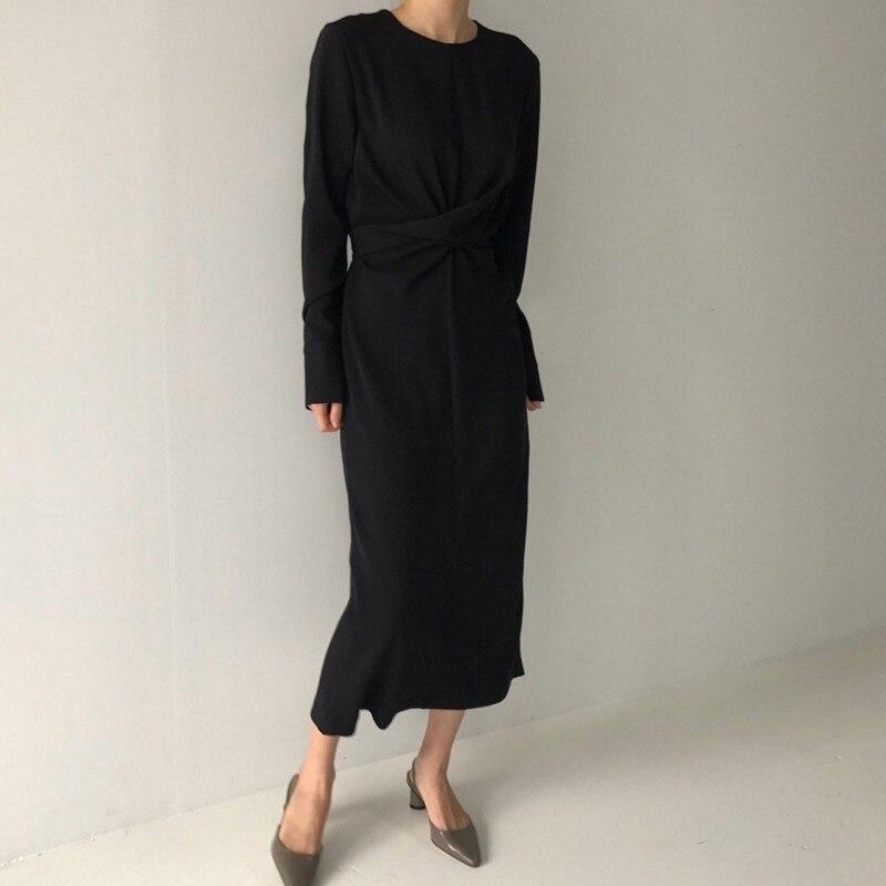 Vestido O Moda La En 2018 Alta Vgh Dress Nuevo red De Las Coreana Otoño Dress Marea Black Dividido Cuello blue Cintura Manga Larga Para Largo Vestidos Ropa Venda Dress Mujeres Hospital Hqw8BxBz