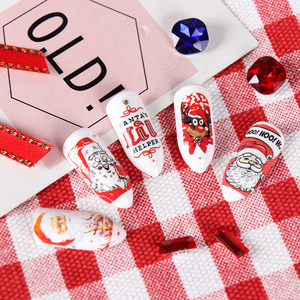 Image 5 - 12 diseños de pegatinas para uñas al agua de Navidad, calcomanías de transferencia deslizantes, ciervo muñeco de nieve, envolturas de esmalte de Gel para Halloween, TRBN985 1032 de decoración de uñas