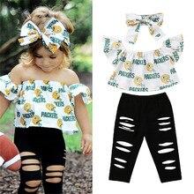 Одежда для маленьких девочек пуловер с надписями и открытыми плечами топы с короткими рукавами, однотонные штаны повязка на голову с бантом, 3 шт хлопковые комплекты