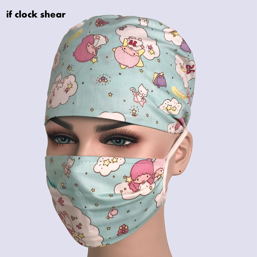 Hospital Doctor Nurse Scrub Cap Dentistry Pet Surgical Cap High Quality Printing Breathable Pharmacy Adjustable Beauty Salon Cap