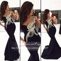 Chegada nova preto sereia prom dress rhinestone de um ombro cetim stretch prom vestidos longos 2017
