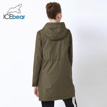 ICEbear 2019 autumn new ladies windbreaker hooded ladies jacket fashion casual women's clothing loose long clothing GWF19023I 3