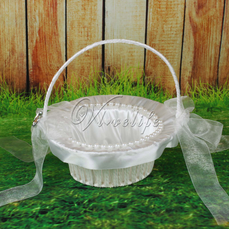 White Flower Basket With Pearls Satin Ribbons Bow Rose Flowers