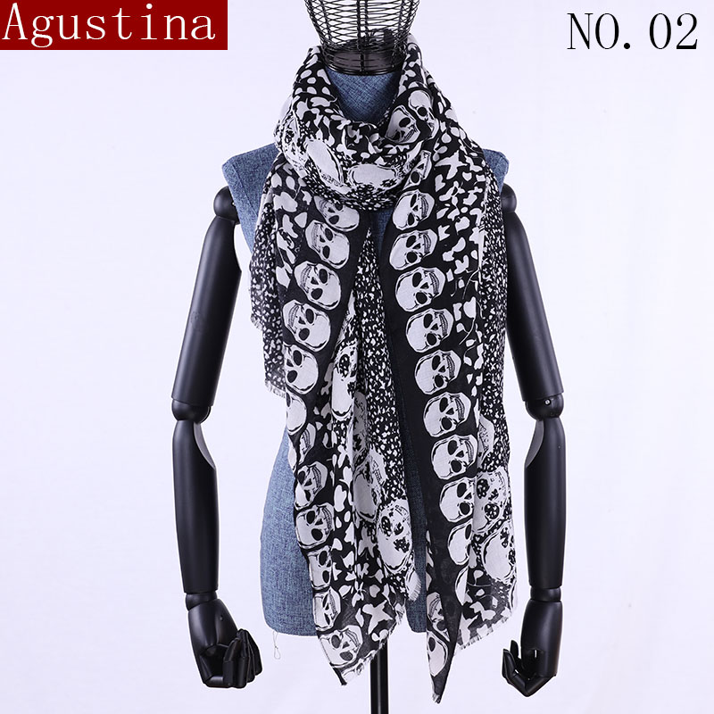 Women Scarf Winter Shawl Luxury Brand Cotton Ladies Scarves Womens Long Shawls Wraps Foulard Shawl Echarpe High Quality Skull L