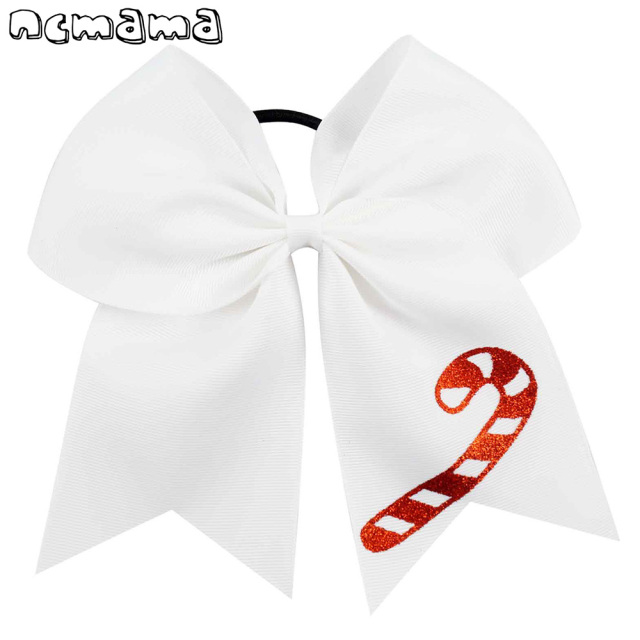 7 large christmas cheer bow with elastic bands white green ribbon hairbows glitter printed hair