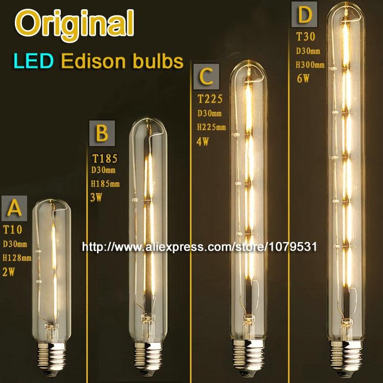 Vintage Flute LED Edison Light Bulb E27 2W 3W 4W 6W 110V 220V T10 T185 T225 T30 LED Bulb for Home lights