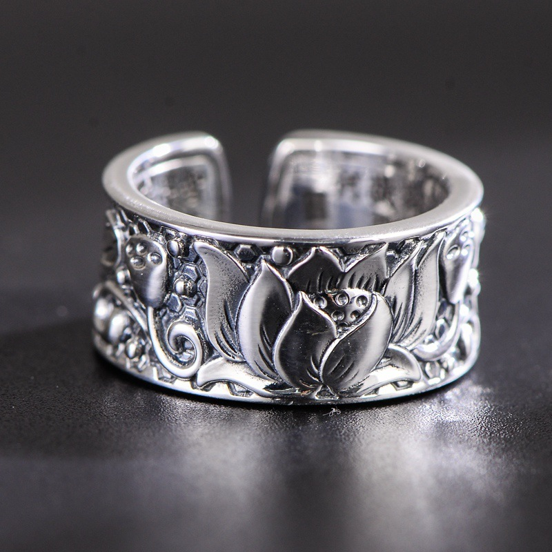Guaranteed 925 Silver Rings Men Women Lotus Heart Sutra Buddha Rings Buddhism Jewellery Resizable Bague Argent
