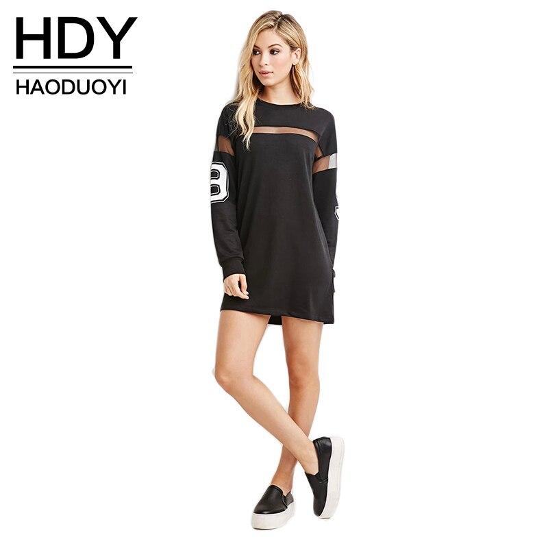 Haoduoyi 2017 Fashion New Dress Women Mesh Patchwork Street Style Vestidos Loose Casual Mini