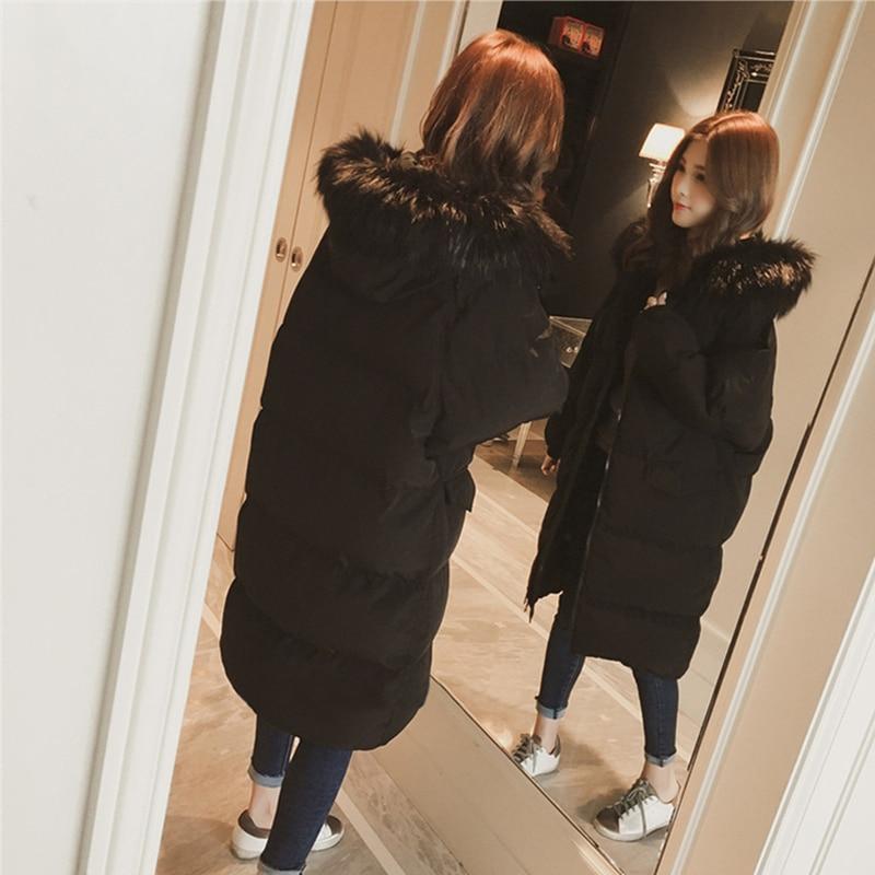 Noir D'hiver Slim Vers Parka Coton Long Le Fourrure Bas Grand Veste blanc Femmes Manteau Dames Épaissie RwxE14q6T