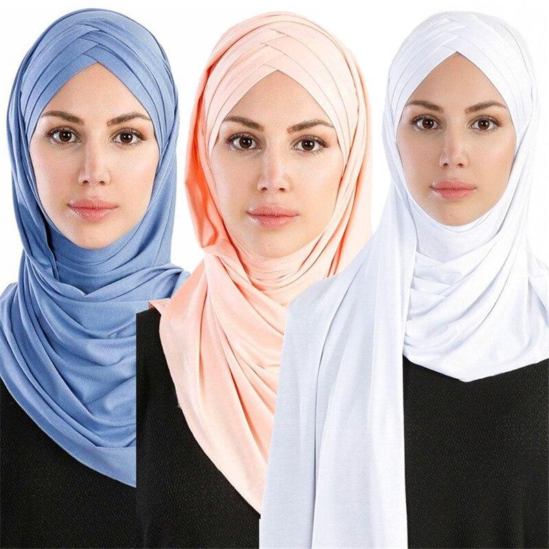 55*180cm Muslim One Piece Jersey Hijab Scarf Islamic Cotton Instand  Headscarf Ladies Plain Shawls Femme Foulard Musulman