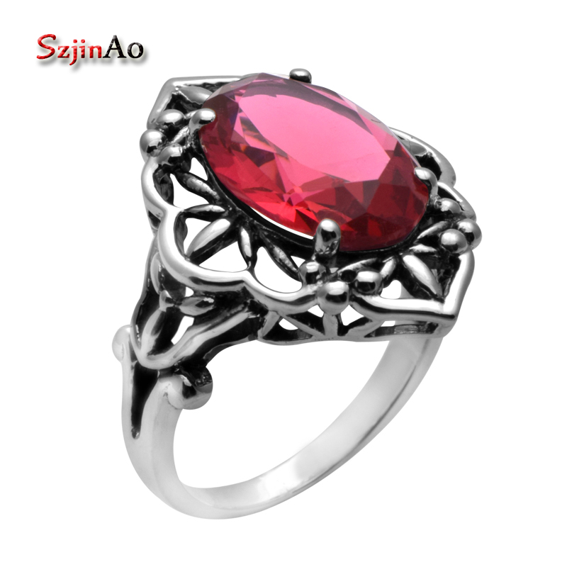 Szjinao Fashion Bohemia Retro Style High Quality Jewelry Women Oval Red Ruby Rings 925 Sterling Silver Alibaba express