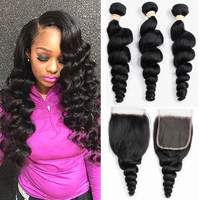 Brazilian Loose Wave Bundles With Closure 100% Human Hair Weave 2/3 Bundles With Closure Loose Deep Wave Bundles With Closure