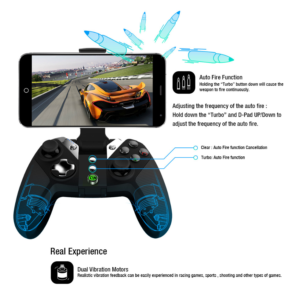 GameSir G4s Bluetooth Gamepad manette sans fil pour Android Téléphone/Android Tablet/Android TV/Sumsung Vitesse VR/Jouer station3 - 3
