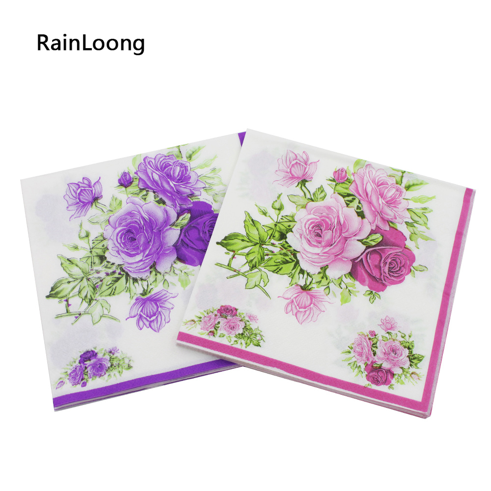 [RainLoong] Rose Paper Napkin Flower Festive & Party Tissue Napkins Decoupage  33cm*33cm 5packs (20pcs/pack)