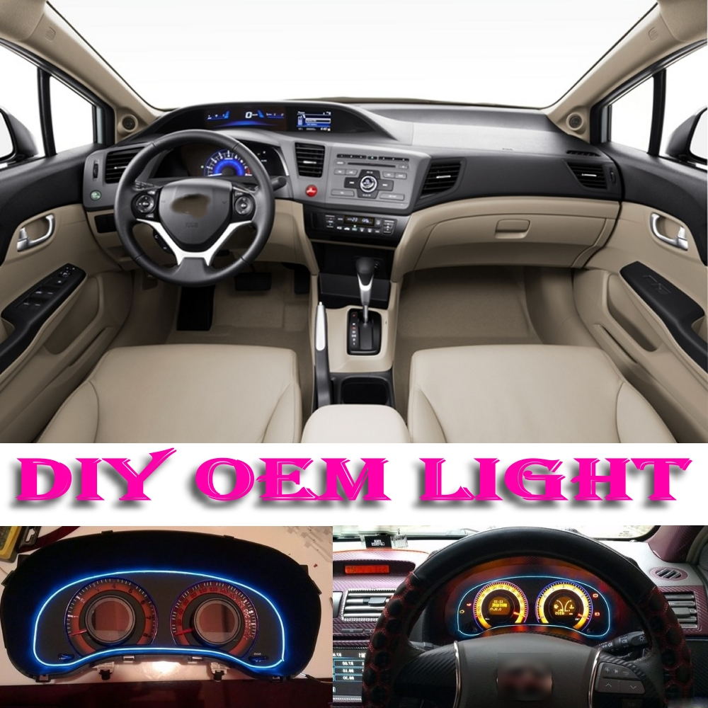 Car atmosphere light flexible neon light el wire interior light decorative decals tags inside tuning for honda civic