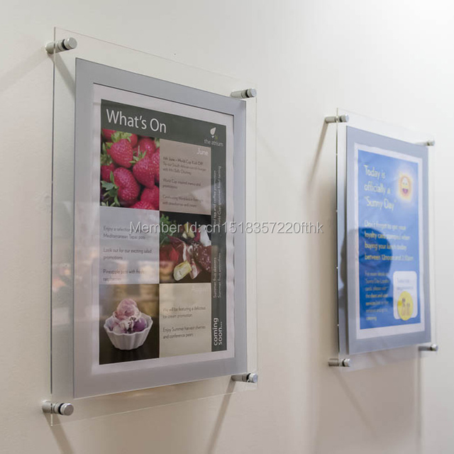 pack 5 unit s personnalis a1 mur mont acrylique plexiglas cadre flottant lucite afficher. Black Bedroom Furniture Sets. Home Design Ideas