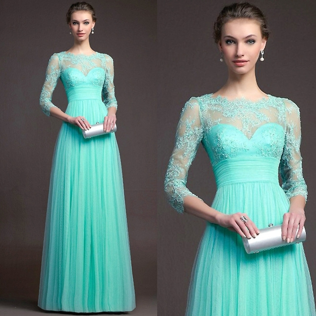 Cecelle 2016 New Jade Green Long Modest Bridesmaid Dresses With 3 4 Sleeves Lacetulle Floor