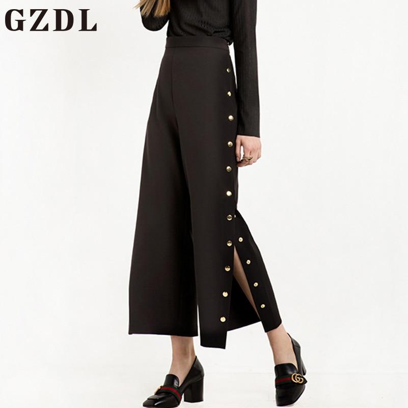 GZDL Casual Black Loose Wide Leg Pants Trousers Summer Style Women Mid Waist Female Sequined Solid Fashion Split Pants CL3796 рюкзак case logic 17 3 prevailer black prev217blk mid
