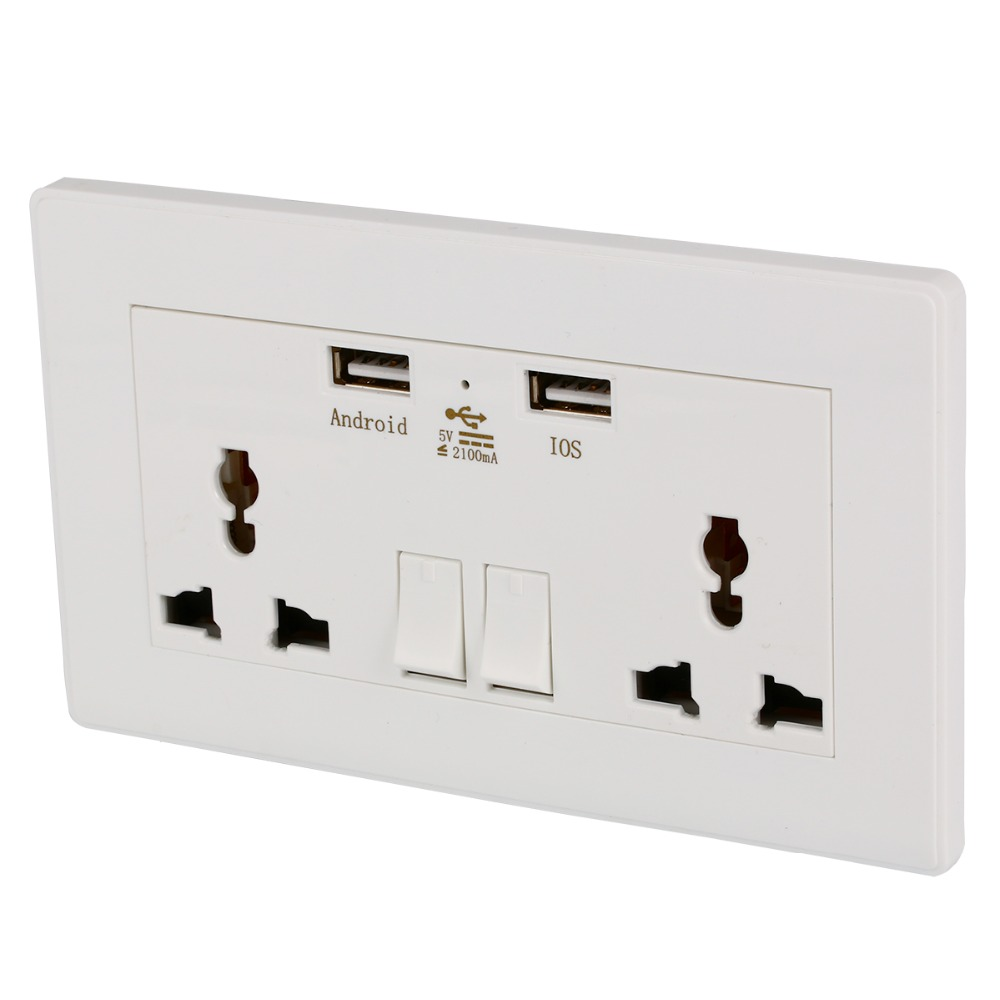 2 <font><b>USB</b></font> 2100mA <font><b>Wall</b></font> <font><b>Charger</b></font> Adapter Socket Dual <font><b>USB</b></font> Port <font><b>Outlets</b></font> Plate Panel Universal <font><b>Wall</b></font> Socket Plug