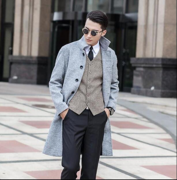 Aliexpress.com : Buy Black grey casual long sleeve wool coat men ...