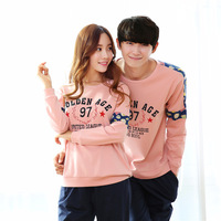 Spring and autumn Pregnancy Women Pure cotton Men's Long sleeve stripe contracted sleepwear leisure wear sets