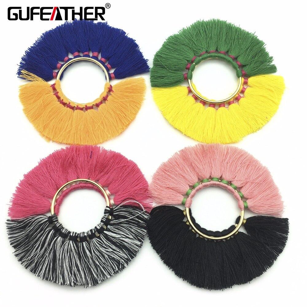 GUFEATHER L83/5cm/Tassel/jewelry accessories/earring accessorie/diy/With metal ring tassels/earring making/embellishments/2p'c's