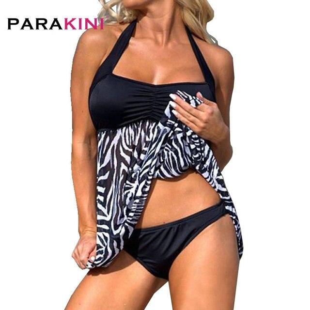 14c9e60791 PARAKINI 2018 Zebra Stripe Swimwear Pregnant Women Two-piece Swimsuit  Halter Plus Size Swimwear Bathing Suits Black White Stripe