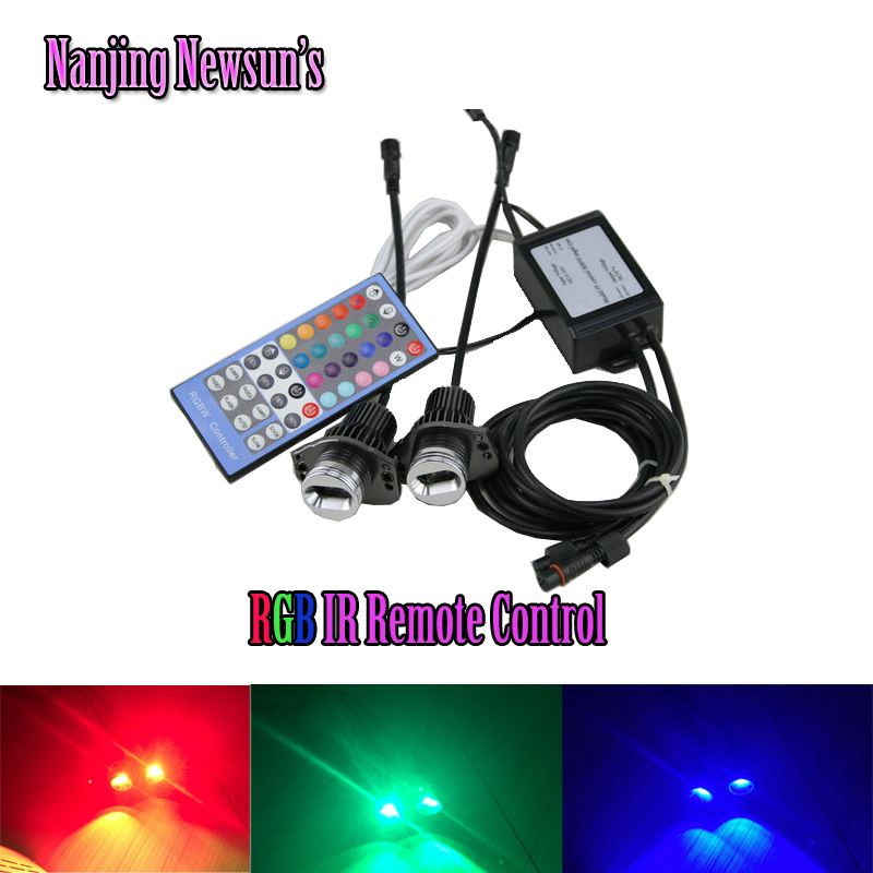 New One Set 2*RGB Changing Color RGBW IR Remote Control E90 E91 3 Series For Bmw Led Marker Angel Eyes Front Headlight DRL