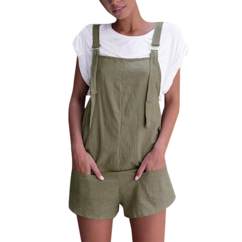 KANCOOLD   Jumpsuit   body for women Elastic Waist Overalls for women Dungarees Linen Pockets Rompers Playsuit Shorts Pants PJUNO9
