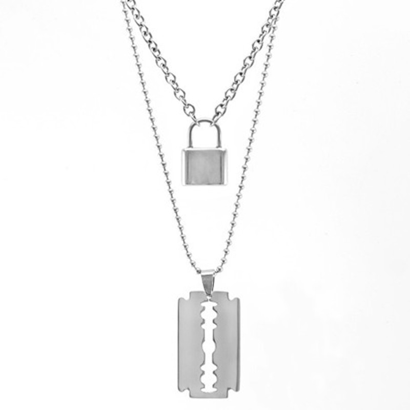 2019 New Stainless Steel Double Layer Padlock Necklace