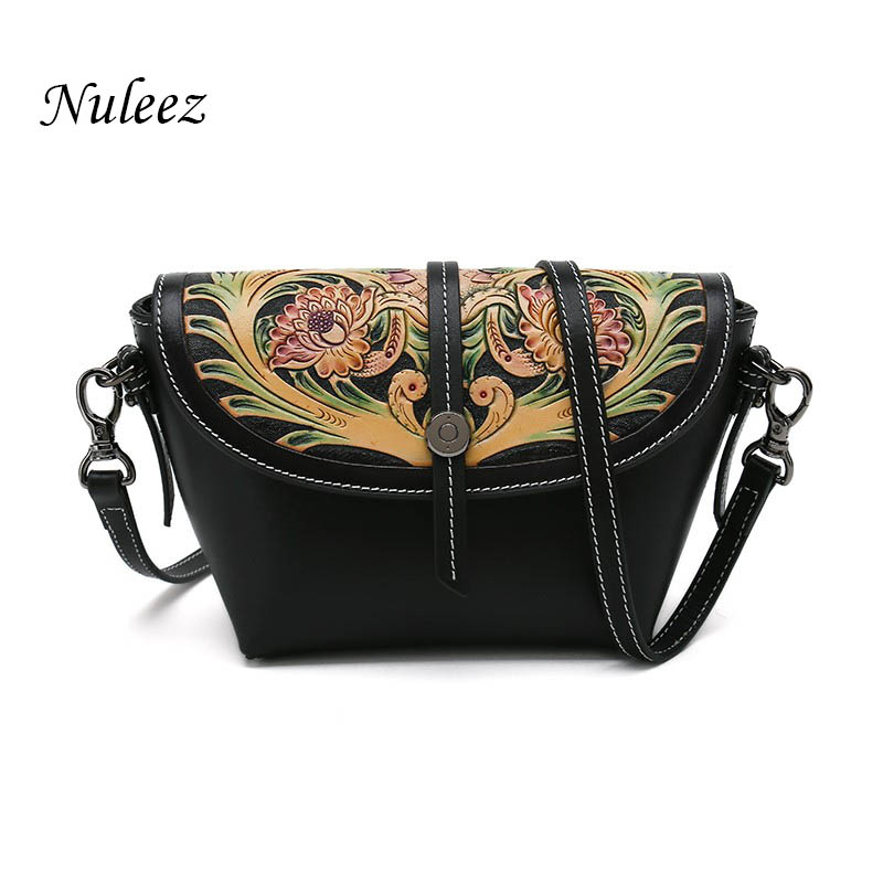 Nuleez cross body bags women genuine cow leather wallet hand carving purse Tang grass pattern Chinese