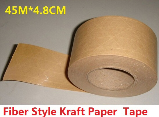 45M*4.8CM/Vintage Blank Fiber Style Kraft Paper Adhesive Tape/package tape/DIY seal sticker for handmade product/Wholesale matte silver self adhesive paper label printing diy crafts sticker for library book electronics blank bar code printed labels