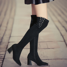 Women s 7cm Thick High Heel Pointed Toe Over The Knee Boots Real Suede Leather Brand