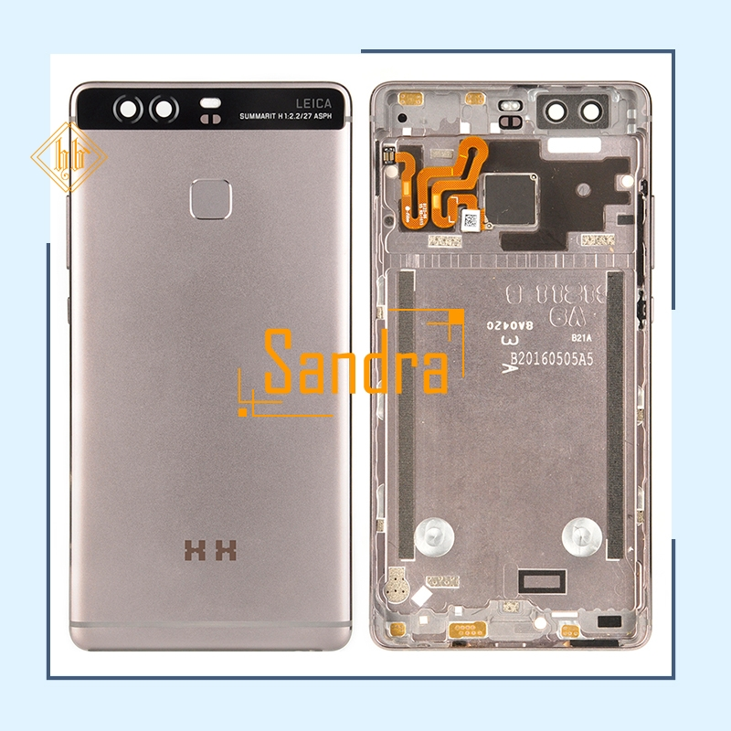 New brand 1pcs HH For Huawei P9 Battery Cover Housing Back Door Housing+Side Buttons+fingerprint sensor flex cable P9plus cover