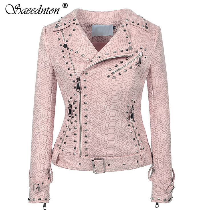 Women's Faux PU   Leather     Suede   Short Rivet Jacket Multy Zipper Motorcycle Coat Womens 2019 Spring Fashion Biker Bomber Jackets