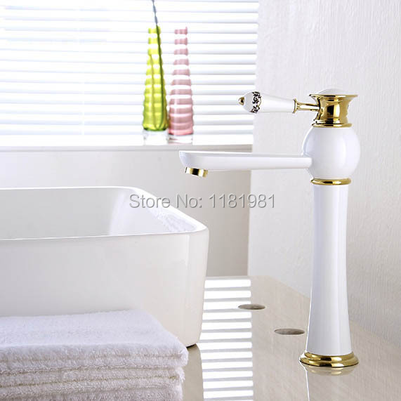 New Arrivals white and gold color Waterfall Faucet Tall Bathroom Faucet Basin Mixer Tap with Hot and Cold Sink faucet W0910