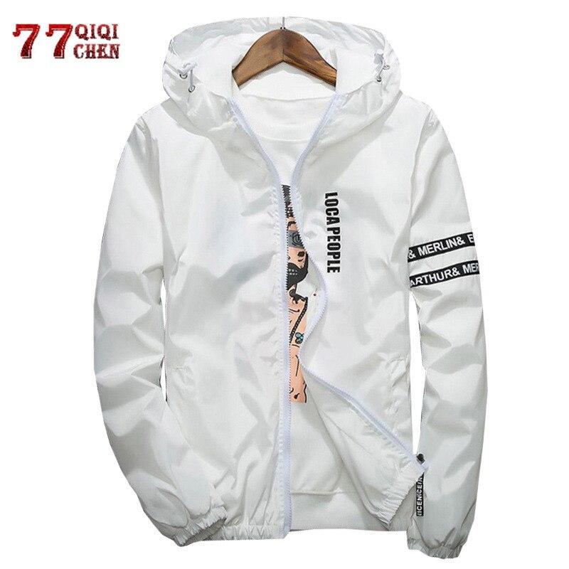 Windbreaker Jacket Coats Jaqueta Spring Hooded-Streetwear Zipper Autumn Casual Young