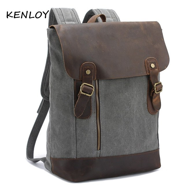 Aliexpress.com : Buy new leather rucksack crazy horse canvas ...