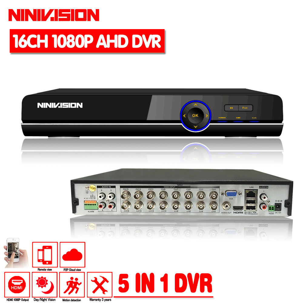 NINIVISION 2018 CCTV DVR AHD 16 Channel Super 1080P DVR Security Protection System 1080P HDMI Output DVR/NVR/HVR Recorder ninivision ahd 4 channel 1080p hdmi 1080p 4ch hybrid ahd dvr hvr nvr onvif for security ip camera p2p function cctv dvr recorder