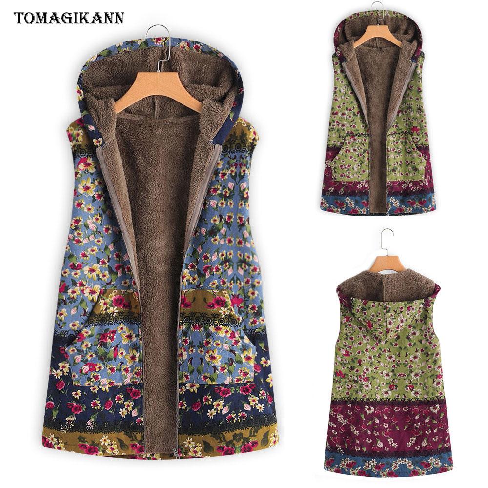 Floral Print Plush Lining Thick Hooded Vest Women Pockets Open Stitch Gilet femme Coat Female Plus Size Colete Feminina Tops 5XL