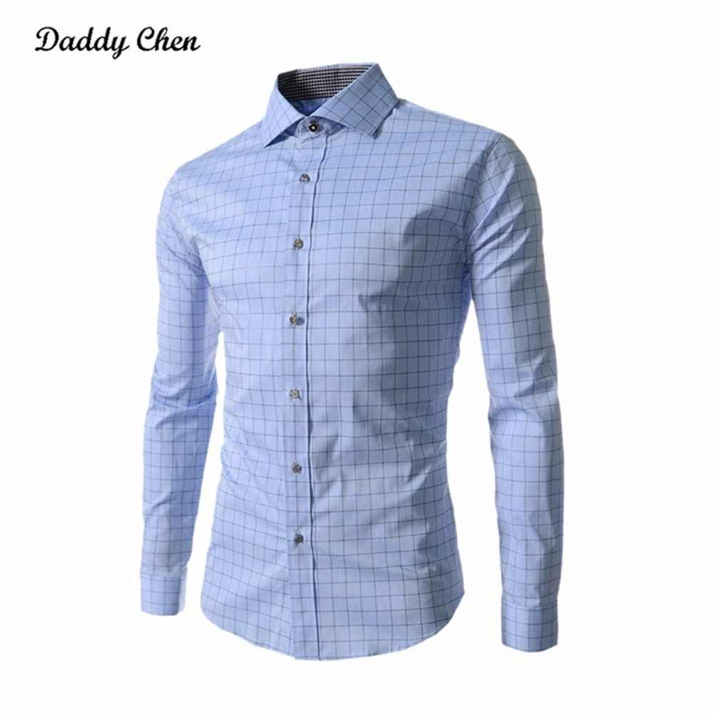 cd60456b45d ... Dress shirt men slim fit style male for boys Casual shirt mens long  sleeve Grid plaid ...